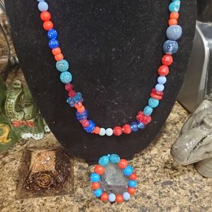 Red and blue Necklace matching bracelet